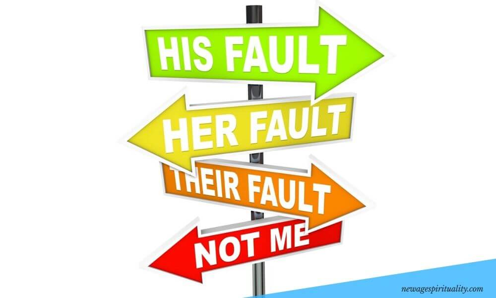 His fault her fault their fault not me - passing on blame concept