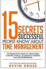 15 Secrets successful people know about time management book cover by Kevin Kruse