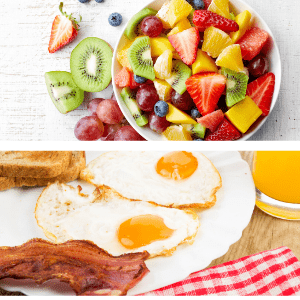 Food healthy breakfast bacon egg and fruit