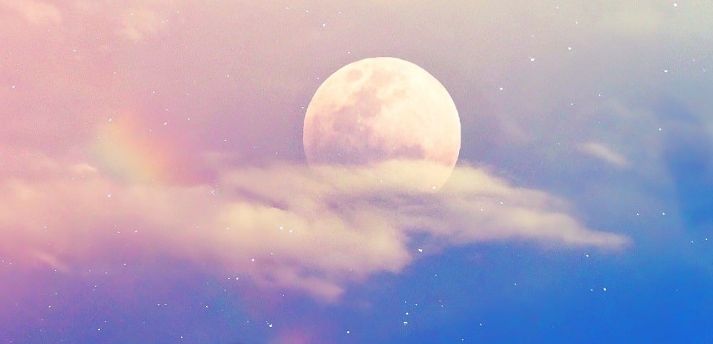 moon and rainbow background