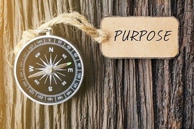 Manifest your dreams, Purpose sign above a compass