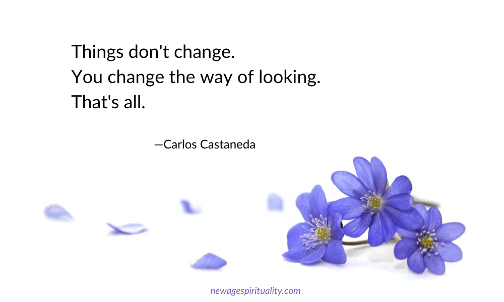 Quote by Carlos Castaneda: things don't change. You change the way of looking. That's all.