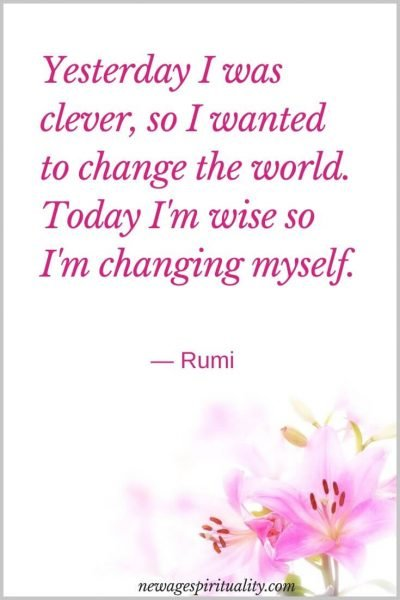 Yesterday I was clever so i wanted to change the workd, today i'm wise so i'm chaning myself Rumi
