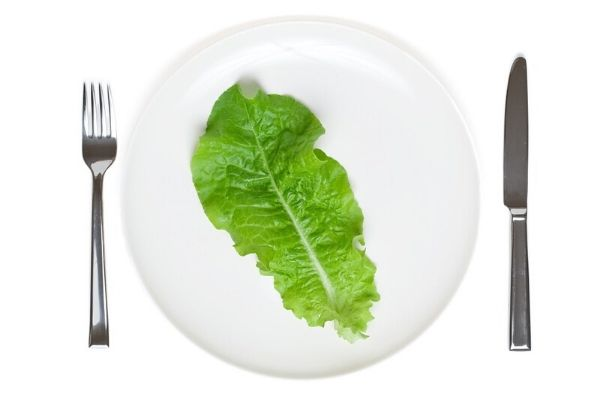 plate with just a piece of lettuce