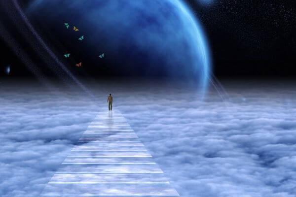 person walking in the clouds in heaven darker universe towards the moon