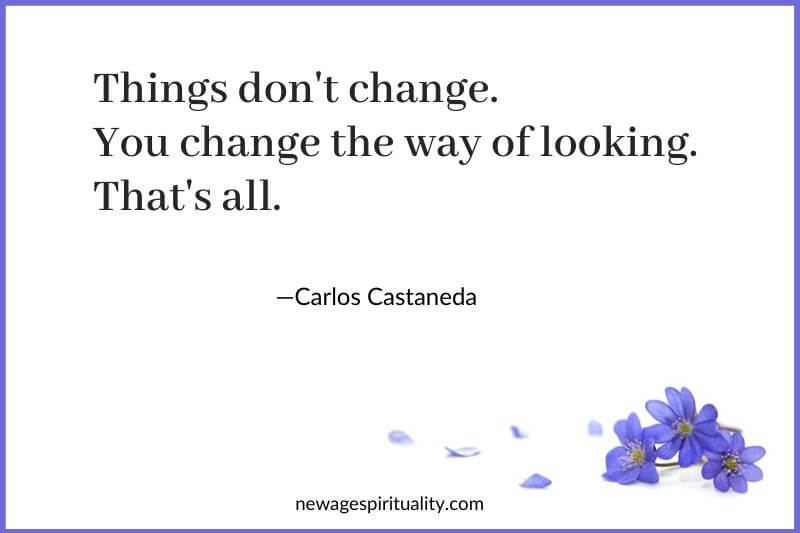 Things don't change you change the way of looking, that's all. Carlos Castaneda
